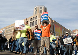Downtown protests didn't dissuade GOP from approving the bill.(IBJ file photo)