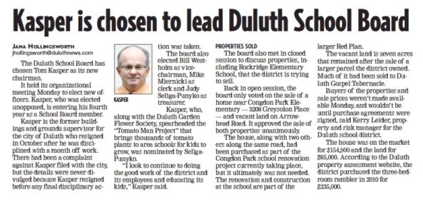 Kasper is chosen to lead Duluth School Board